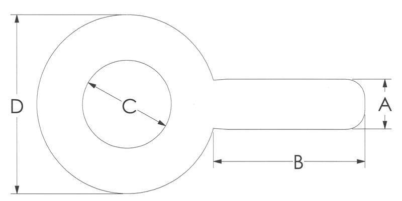 Drawing of Plain Stainless Blank Eye Bolts
