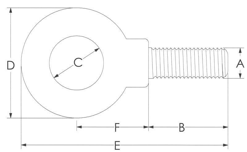 Drawing of Metric Shoulder Eye Bolt