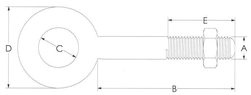 Drawing of Plain Carbon Eye Bolt with Nut