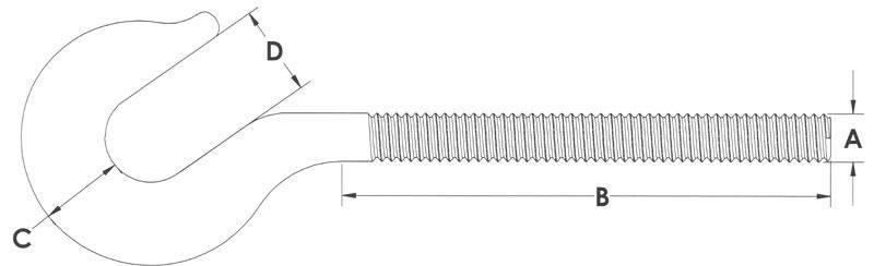 Drawing of Turnbuckle Hook End Fittings