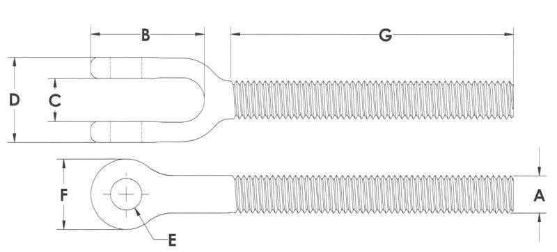 Drawing of Turnbuckle Jaw End Fittings