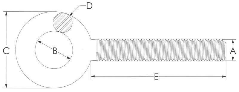 Drawing of Turnbuckle Round Eye Fittings