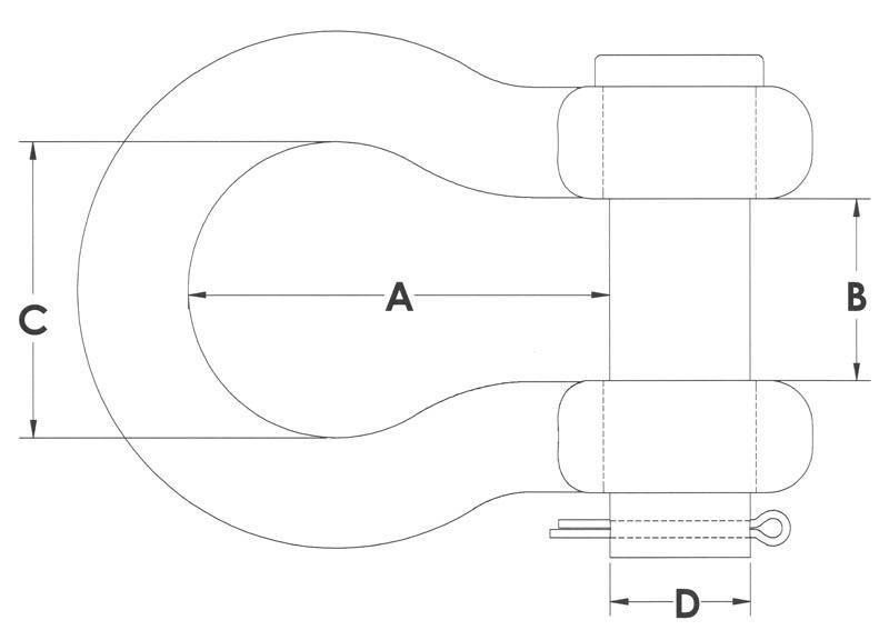 Drawing of Round Pin Anchor Shackle
