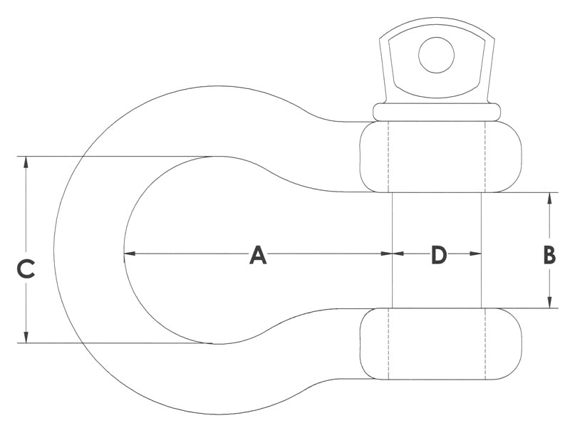 Drawing of American Made Screw Pin Anchor Shackles