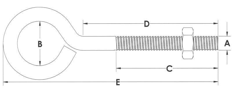 Drawing of bent wire eye bolt