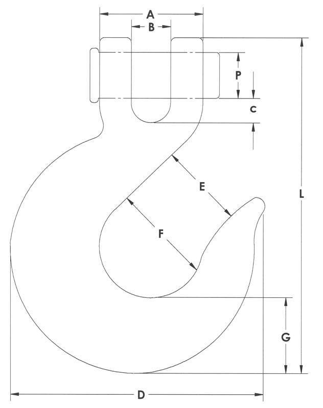 Drawing of clevis slip hook