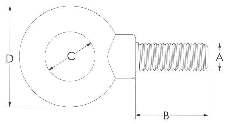 Drawing of Shoulder Stainless Eye Bolt