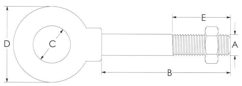 Drawing of Shoulder Stainless Eye Bolt with Nut