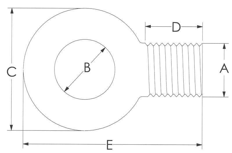 Drawing of Reduced Carbon Eye Bolts