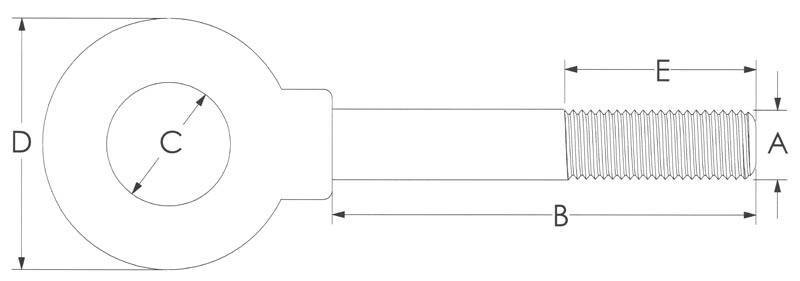 Drawing of Shoulder Special Sizes Eye Bolt
