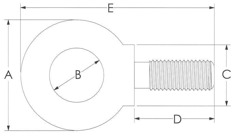 Drawing of Metric Din Eye Bolts