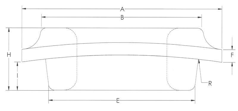 Drawing of Standard Heavy Curved Flange