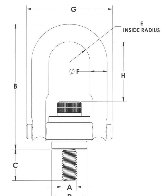 Drawing of Center Pull Hoist Rings