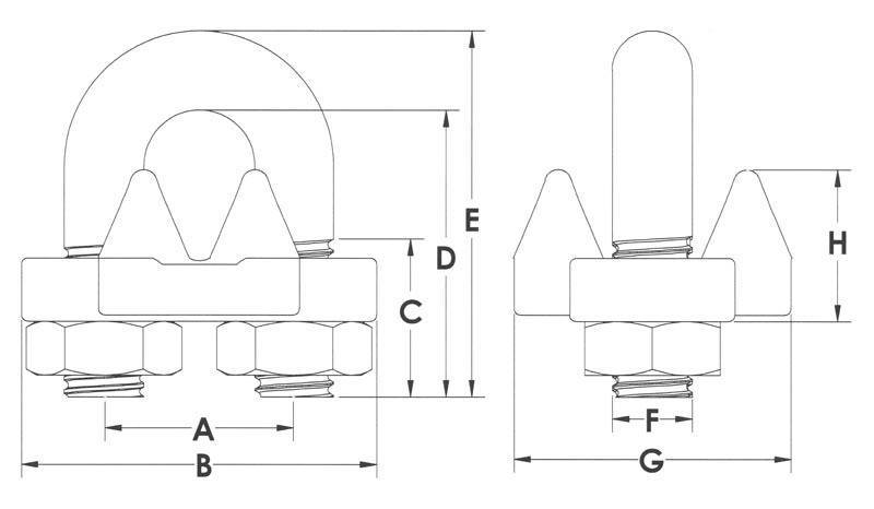 Drawings of Malleable Wire Rope Clips